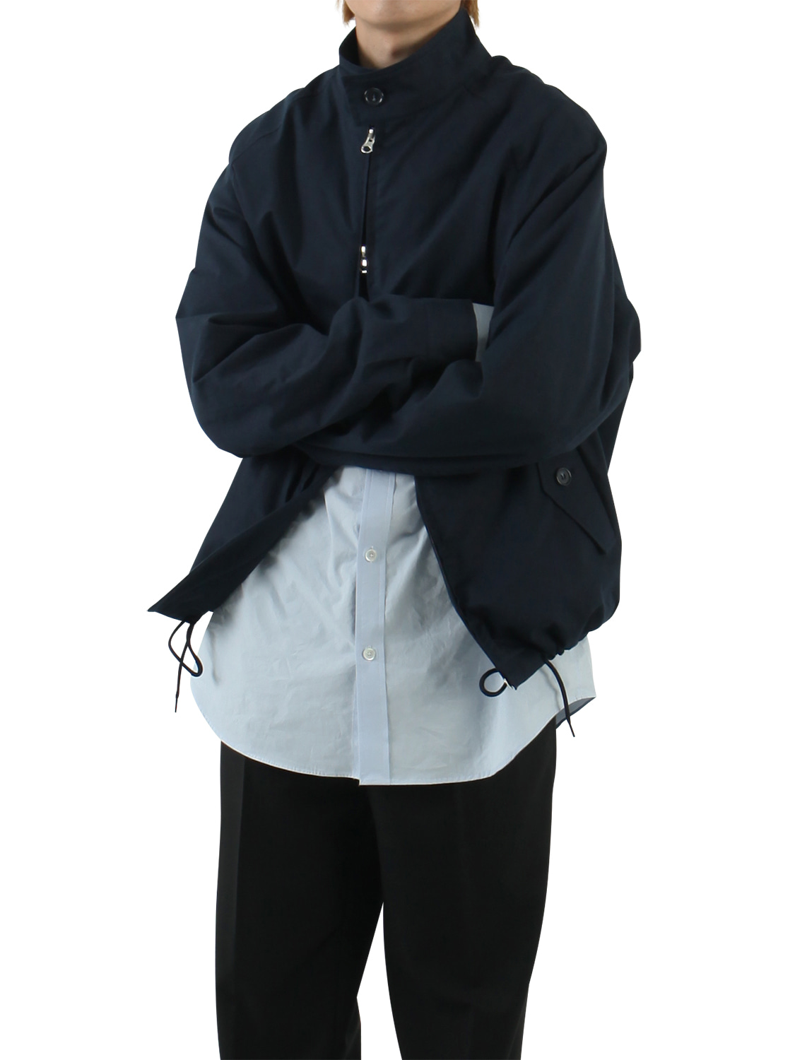 Cotton Raglan Blouson _ navy