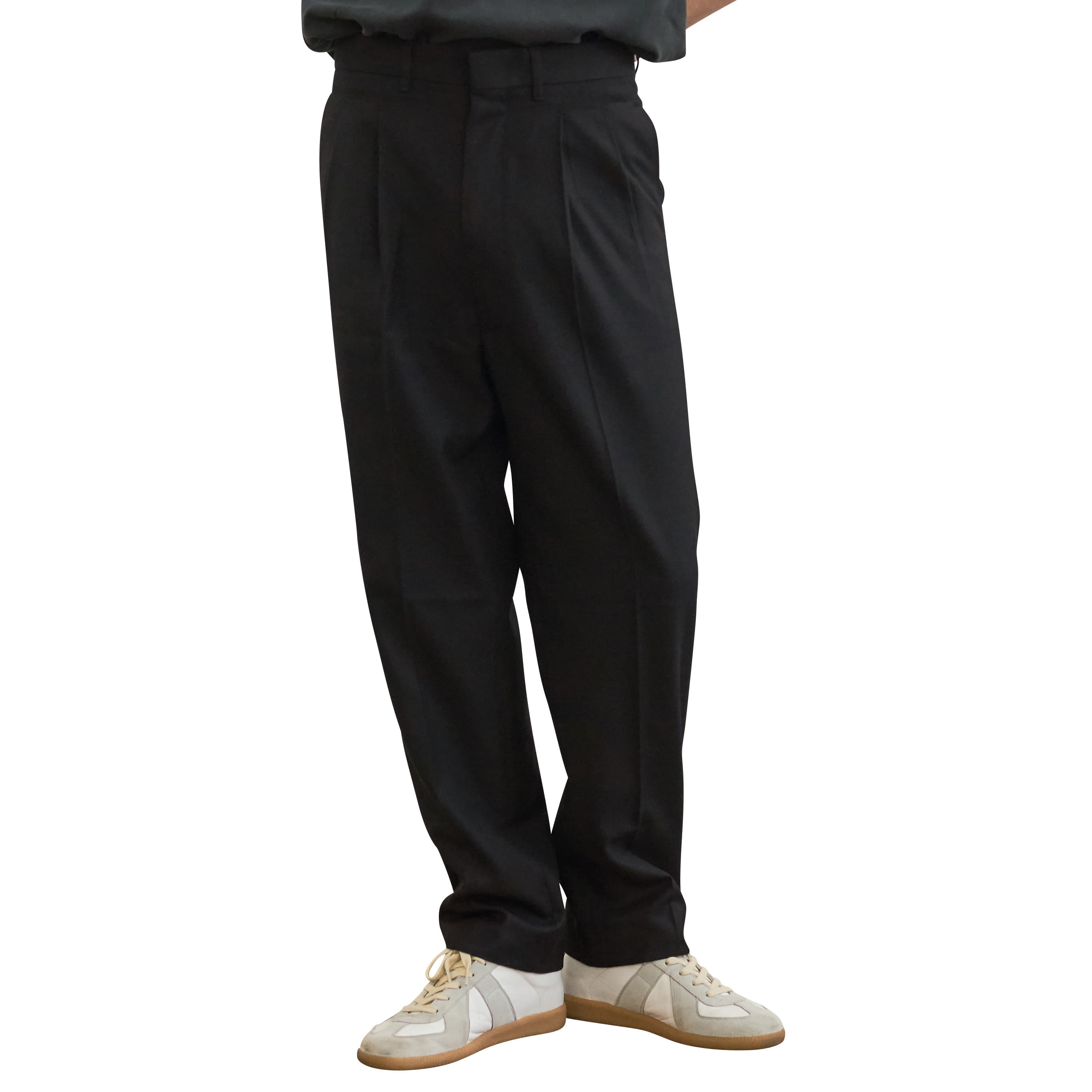 Highwaist Pleats Slacks _ black