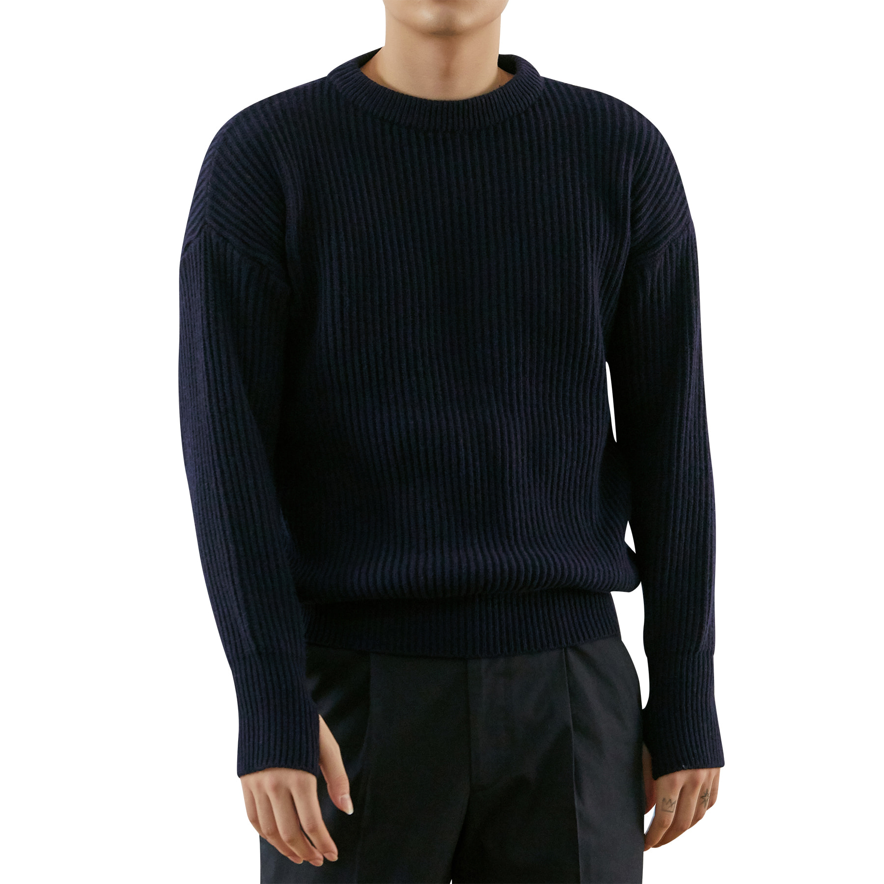 Unisex Drop Shoulder Wool Knit _ navy